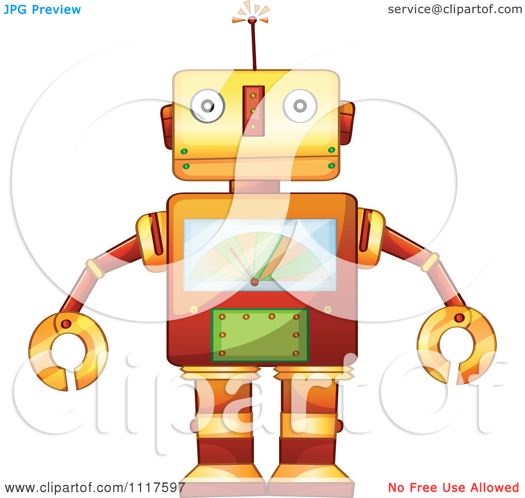 Technology Vector Clipart Retro Metal Robot With A Chart On His Chest