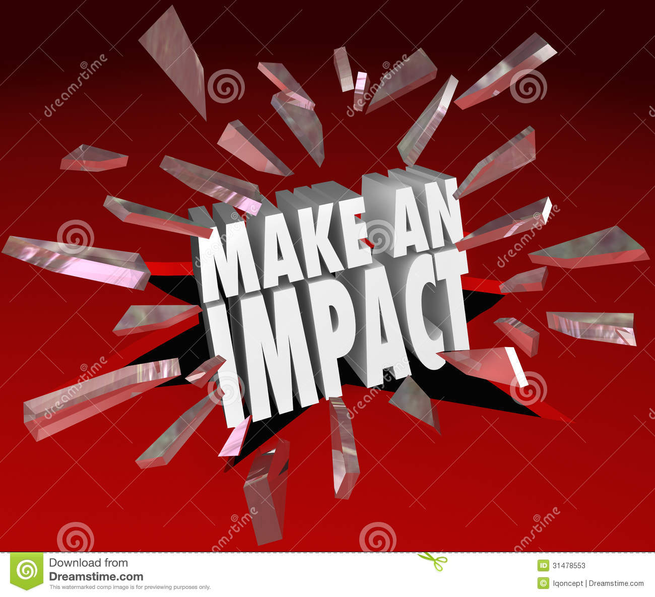 The Words Make An Impact Breaking Through 3d Red Glass To Illustrate