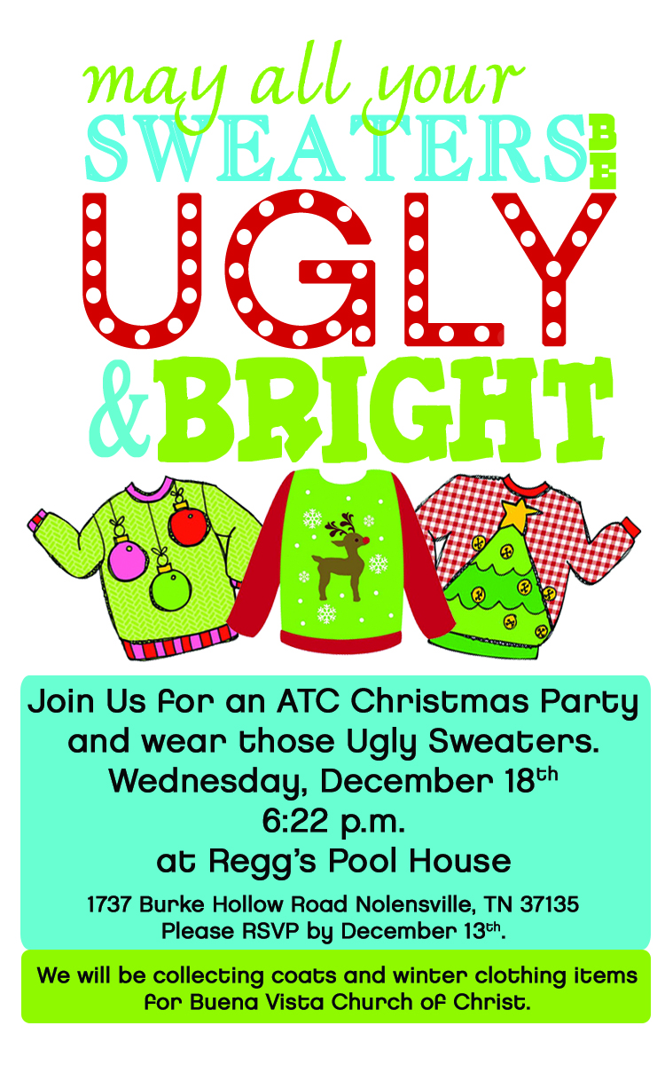 Ugly Sweater Contest Invitation 2013 Atc Christmas Invite ...