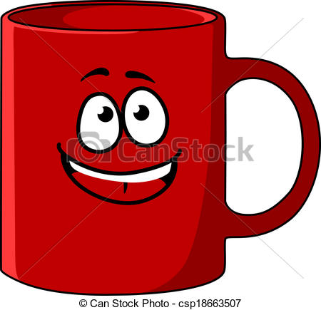 Vector   Red Cartoon Coffee Mug With A Happy Face   Stock Illustration