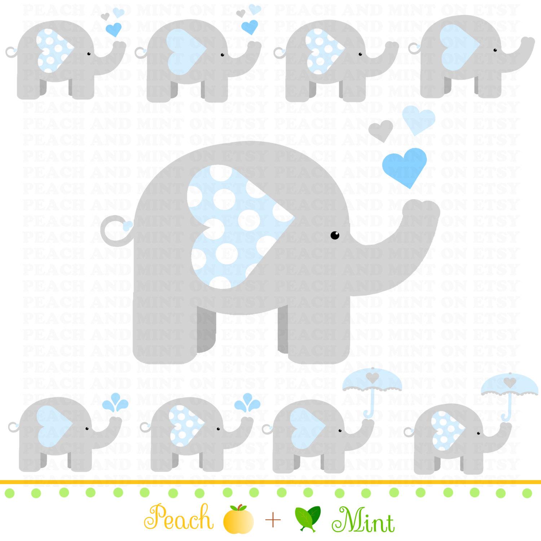 Baby Shower Boy Baby Elephant Clip Art Digital Clipart By Peachandmint