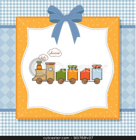 Baby Shower Card With Toy Train Stock Vector Clipart Baby Shower Card