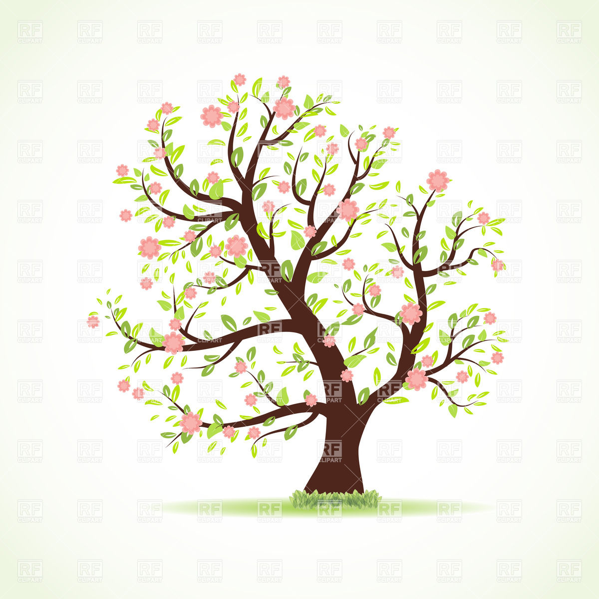 Beautiful Blooming Spring Tree 22981 Download Royalty Free Vector