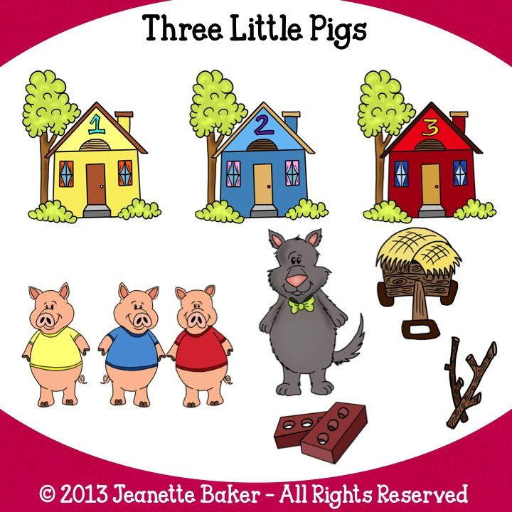 Three Little Pigs Clip Art Clip Art By Jeanette Baker Three Little Pigs Little Pigs And Clip