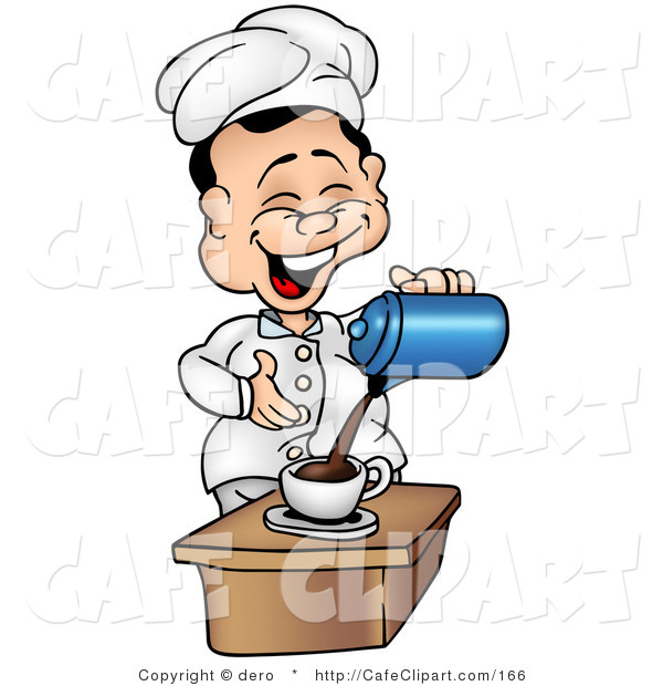 Clip Art Of A Laughing Chef Pouring Coffee By Dero    166