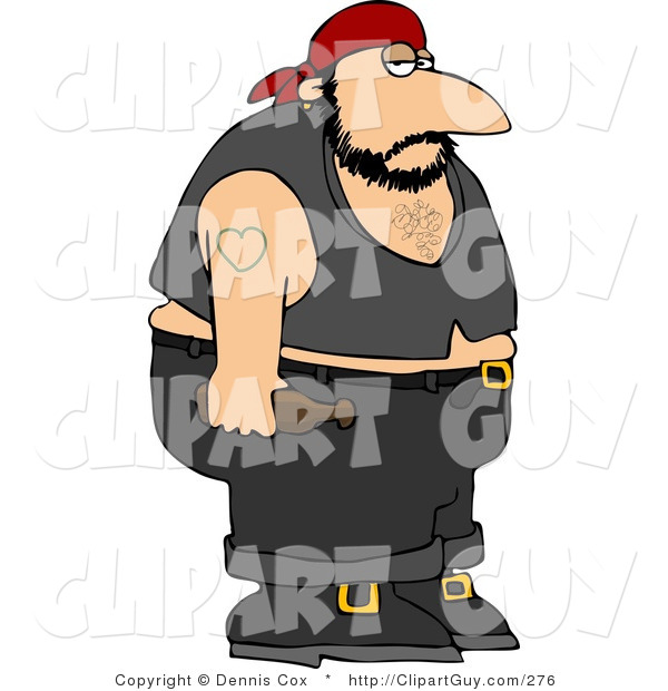 Clip Art Of An Obese Biker Man With A Heart Tattoo On His Arm