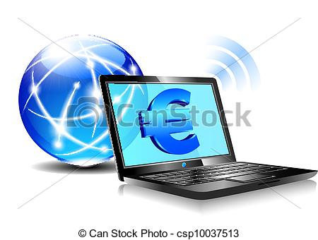 Clip Art Of Banking Online Pay By Internet Euro   Banking Payment
