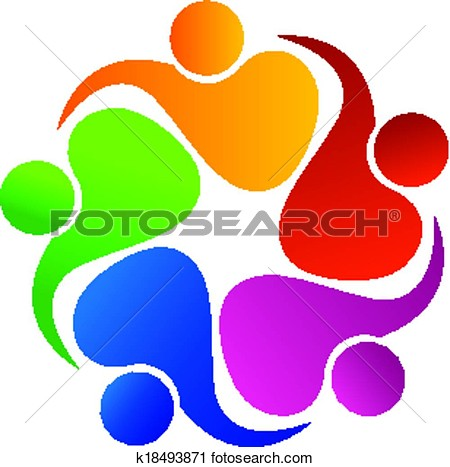 Clipart   Teamwork Friendly People Logo  Fotosearch   Search Clip Art