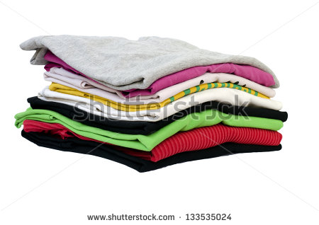 Colorful Stack Of Folded Clothes Isolated On White Stock Photo