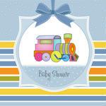 Customizable Shower Baby Boy Card With Train Baby Boy Card