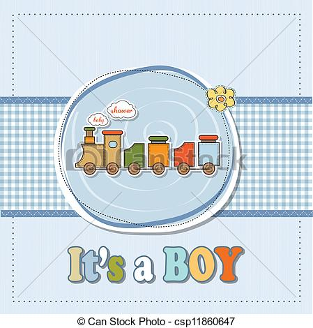 Eps Vector Of Baby Boy Shower Card With Toy Train   Baby Boy Shower