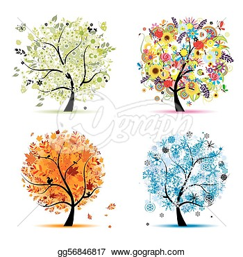 Four Seasons   Spring Summer Autumn Winter  Art Tree Beautiful For