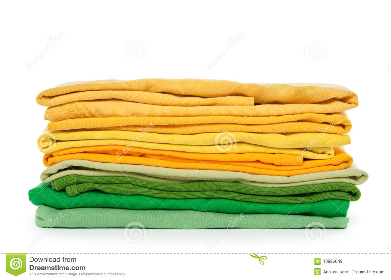 Green And Yellow Folded Clothes Royalty Free Stock Images   Image