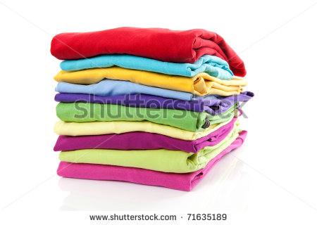 Pile Of Colorful Clothes Over White Background   Stock Photo