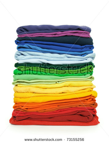 Rainbow Laundry  Pile Of Bright Folded Clothes On White Background