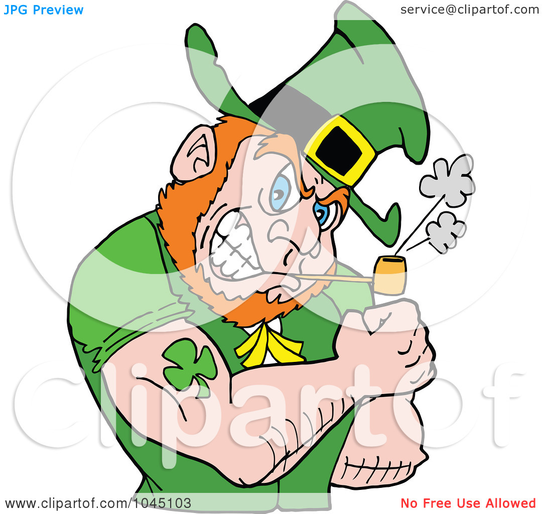 Royalty Free  Rf  Clip Art Illustration Of A Leprechaun Smoking A Pipe