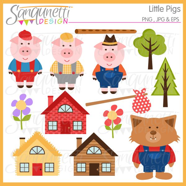Three Little Pigs Clipart - Clipart Kid