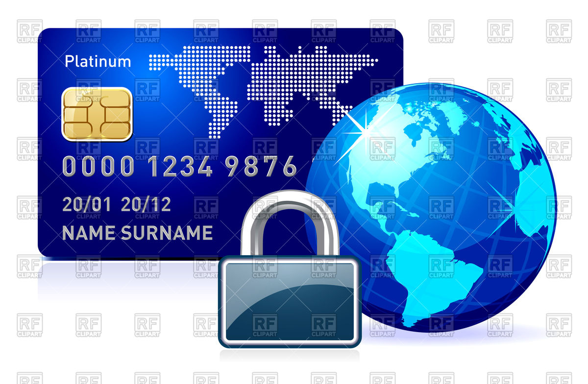 Secure Online Payment Concept With Credit Card Padlock And Globe