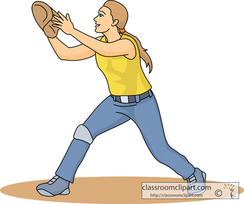 Softball Clipart   Softball Player Catching Ball   Classroom Clipart