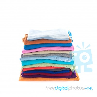 Stack Of Folded Cotton Clothes Stock Photo Royalty Free Image Id