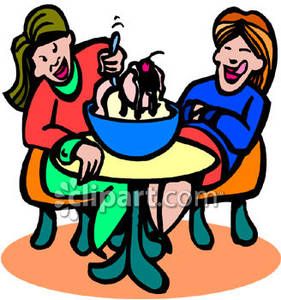Two Women Eating Ice Cream   Royalty Free Clipart Picture