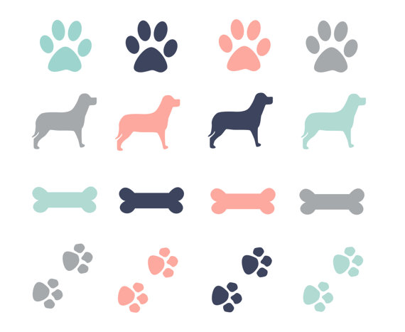 60  Off Sale Paw Prints Dogs Clipart Dog Bone Clip Art Digital