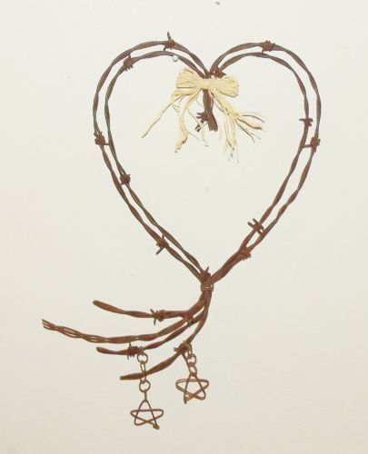 Barbed Wire Heart With Stars Love Valentine Rustic Wedding Wall Art