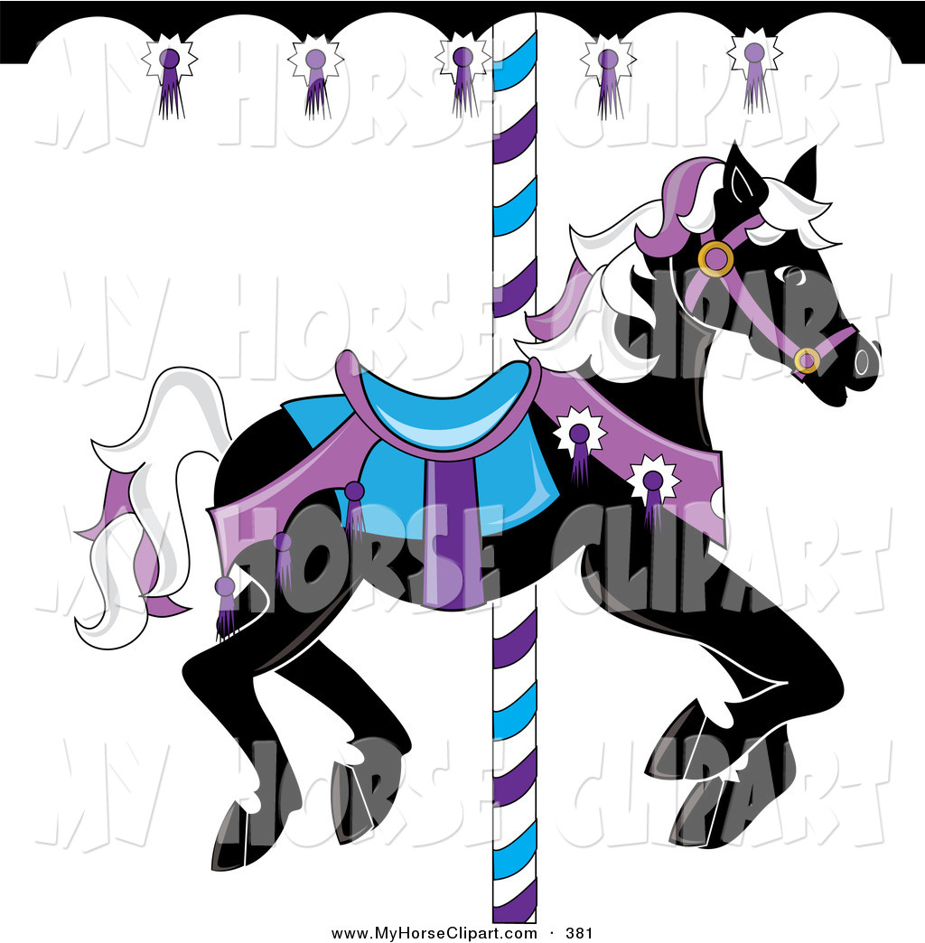 Carnival Clipart Black And White Clip Art Of A Black Carousel Horse