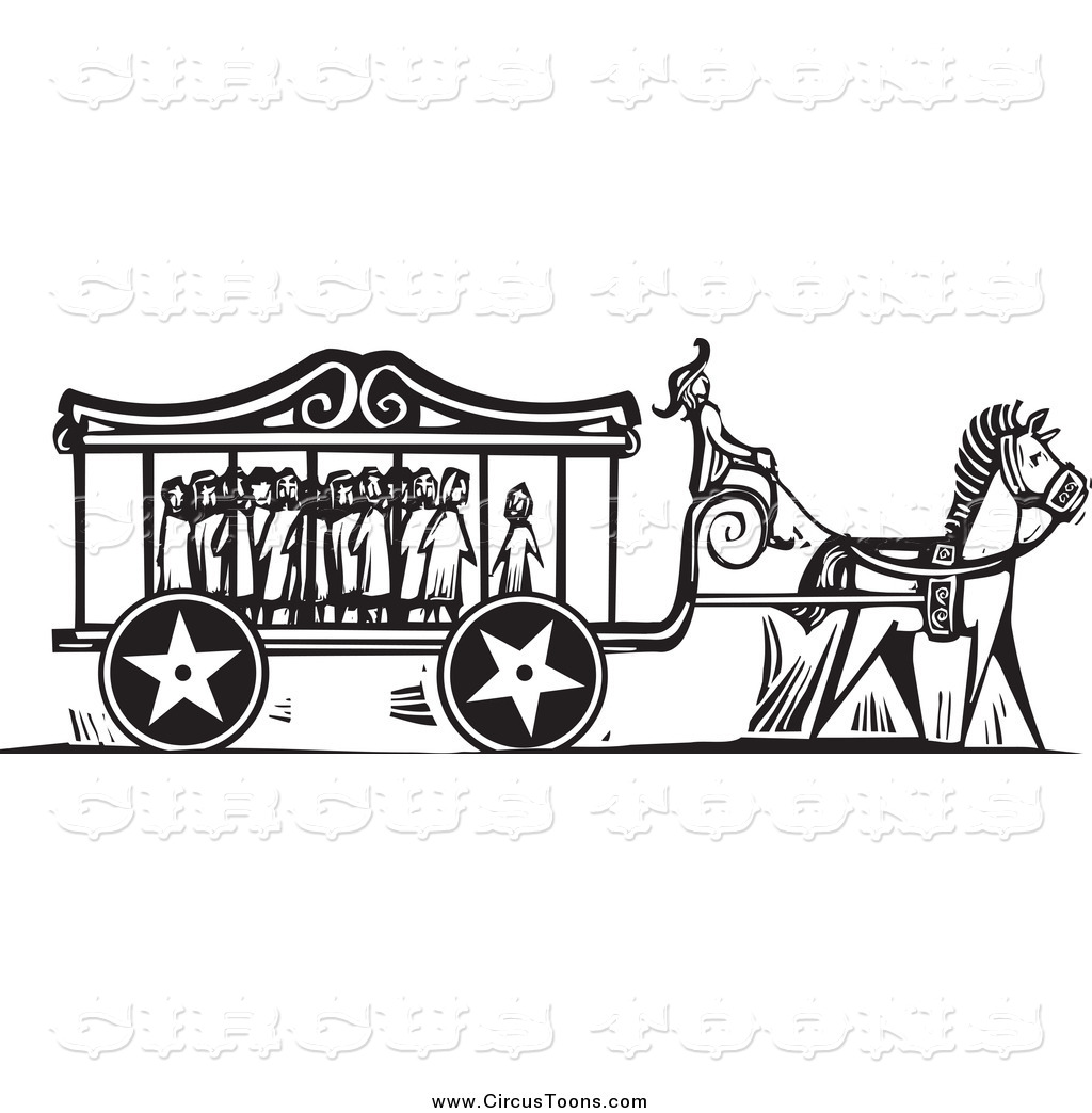 Circus Clipart Of A Black And White Carnival Carriage Full Of Scared