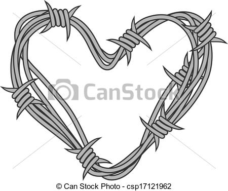 Clip Art Vector Of Heart In Barbed Wire For Love Concept Design Vector