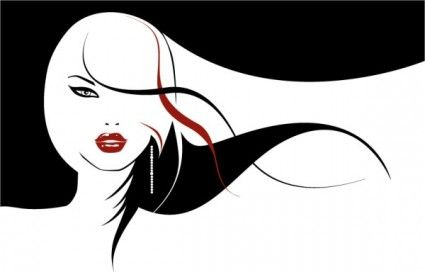 Gothic Silhouette Clip Art   The Complexity Of Women Hair Cool Vector