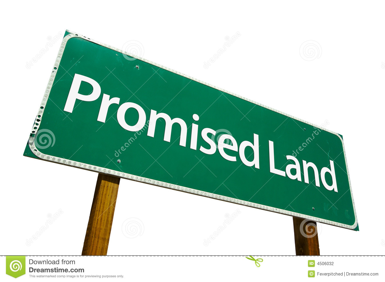 Promised Land Road Sign Isolated On White  Stock Photography   Image