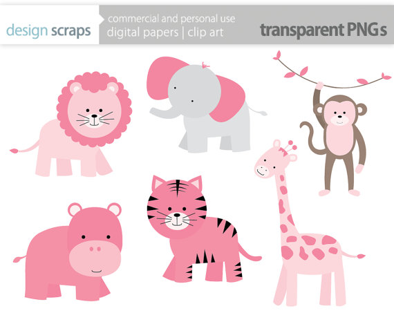 Baby Girl Clip Art Pink Wild Jungle Safari Zoo Animals Digital