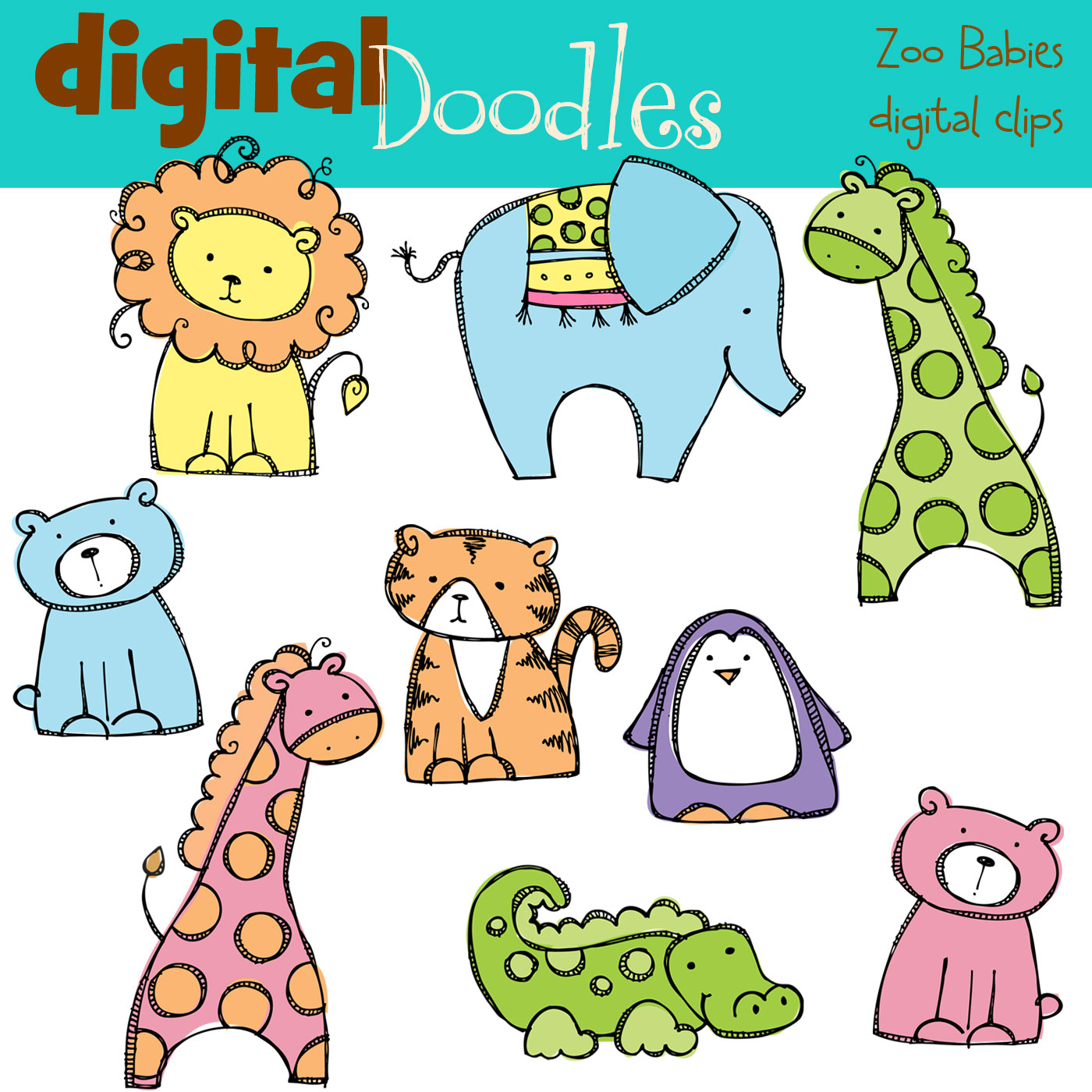Baby Zoo Animals Clip Art Digitaldoodles Preview 11  Jpg