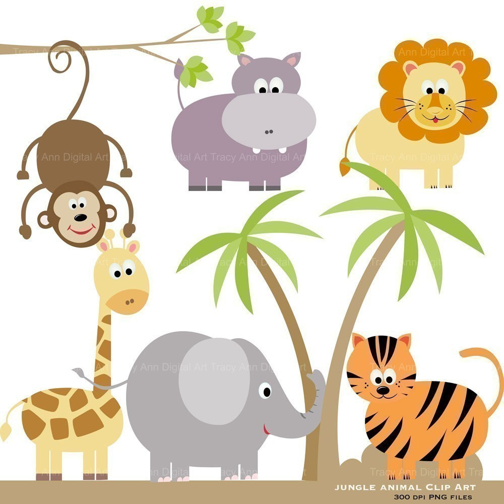 Baby Zoo Animals Clip Art Http   Www Etsy Com Listing 62178575 Jungle