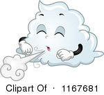 Cartoon Of A Cloud Mascot Blowing Wind Royalty Free Vector Clipart ...