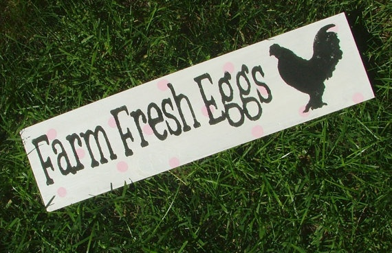 Chicken Coop Sign Farm Fresh Eggs White With By Greenchickens  14 95