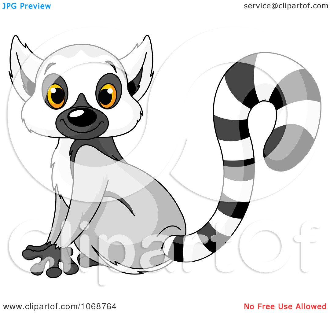 Clipart Cute Lemur Sitting   Royalty Free Vector Illustration By
