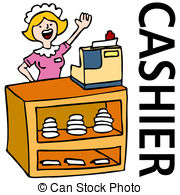 Fast Food Cashier Worker   An Image Of A Waitress Working At