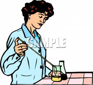 Female Chemist Mixing Chemicals   Royalty Free Clipart Picture