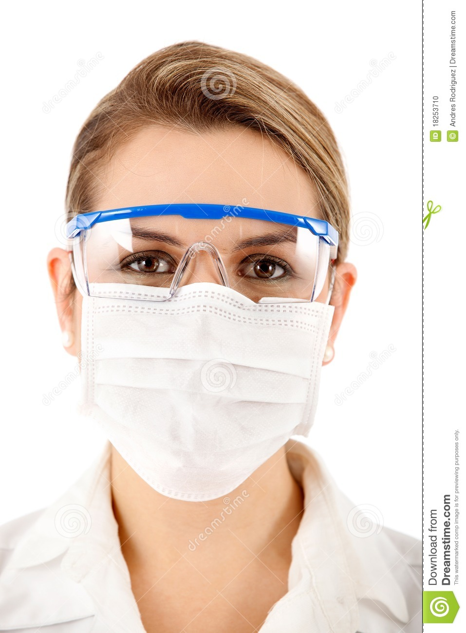 Female Chemist Using Glasses And Face Mask   Isolated Over A White