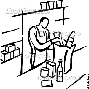 Grocery Clerk Bagging Vector Clip Art