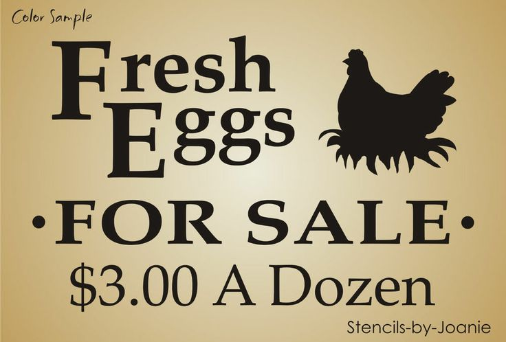 Lg Stencil Fresh Eggs For Sale Hen Nest Chicken Prim Country Farm Yard