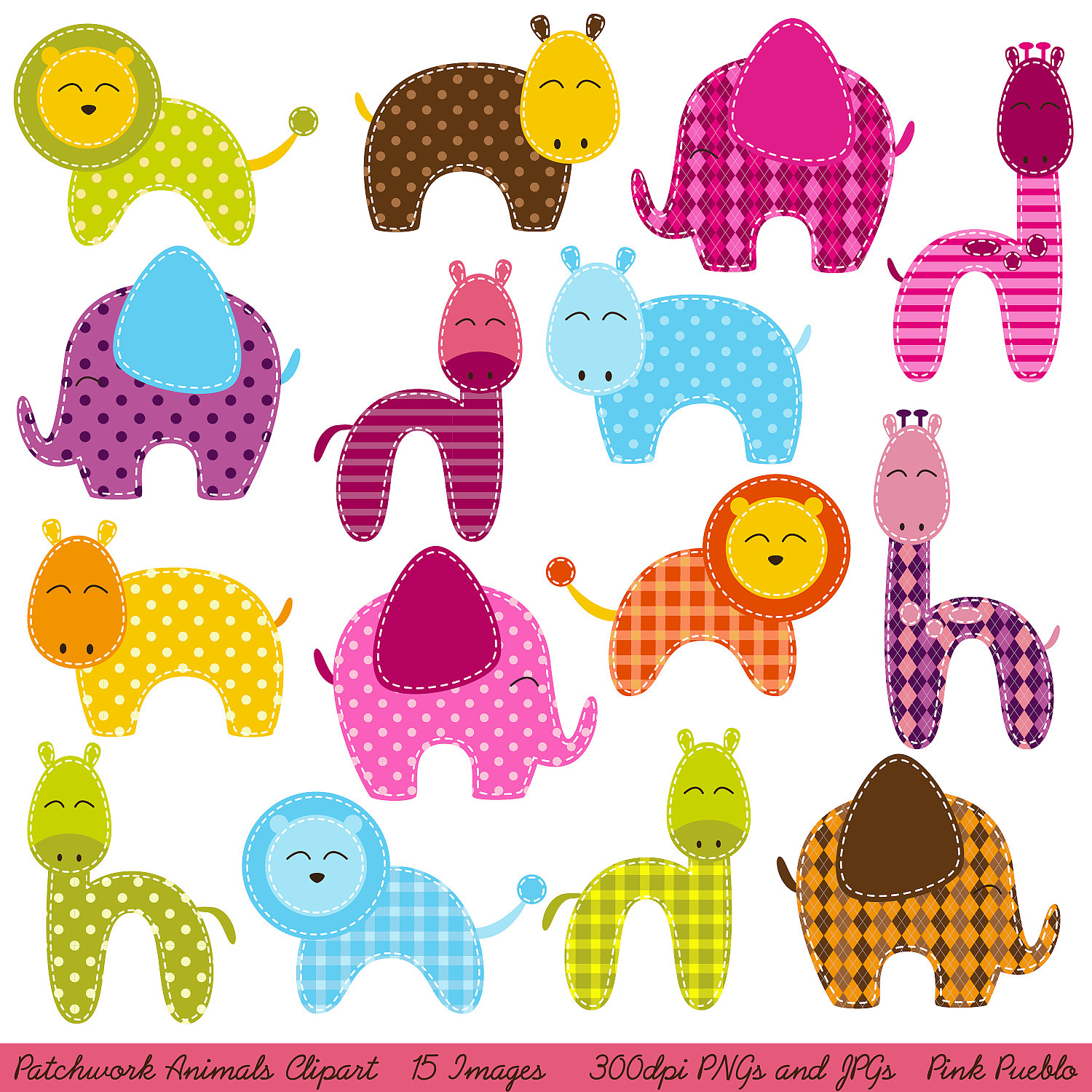 Patchwork Animals Clipart Clip Art Zoo Animals By Pinkpueblo