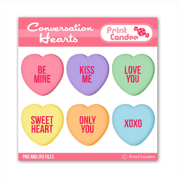 Valentines Conversation Hearts   Digital Clip Art   Personal And