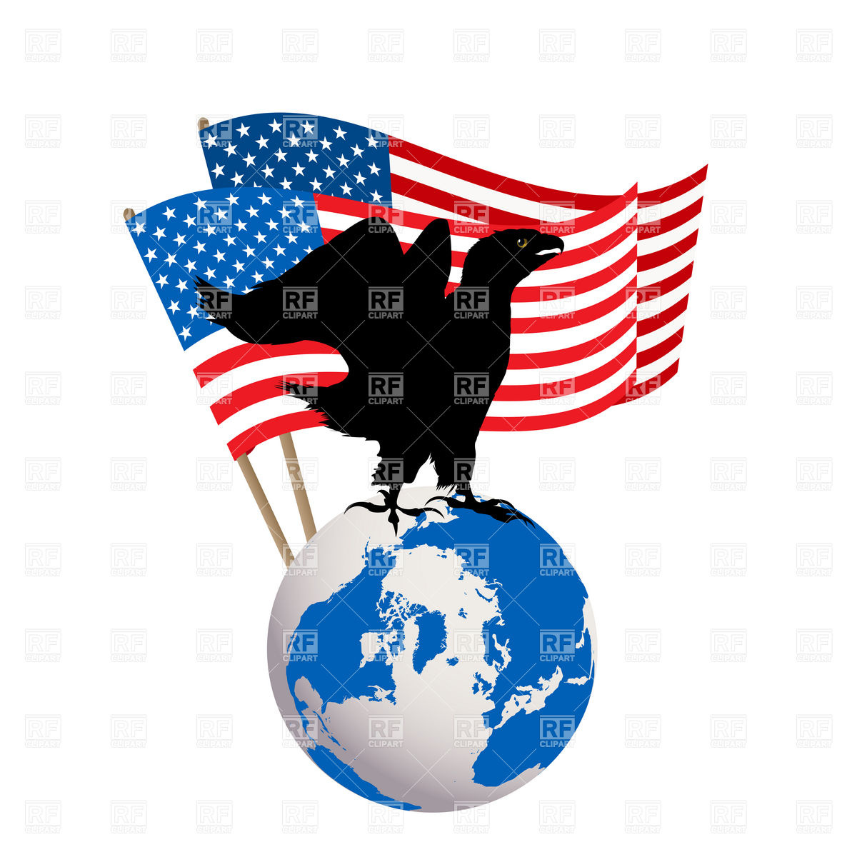 American Eagle On Globe And Usa Flag 16340 Holiday Download Royalty