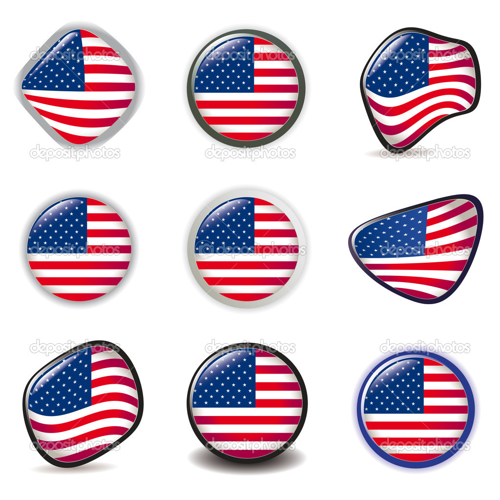 American Flag Symbols Icons Buttons Vector Illustration Usa   Stock