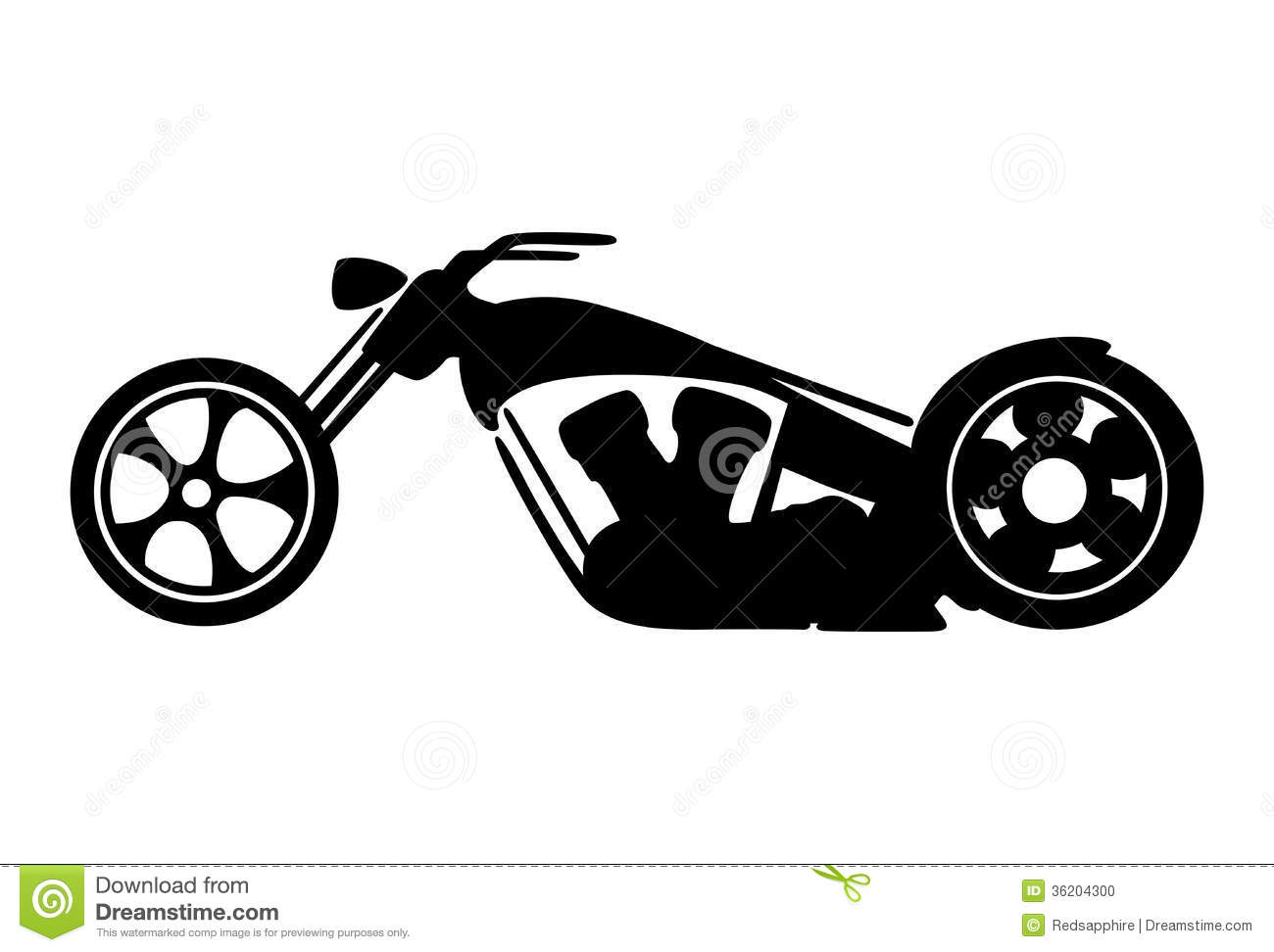 Black Motorcycle Silhouette Isolated On White Background