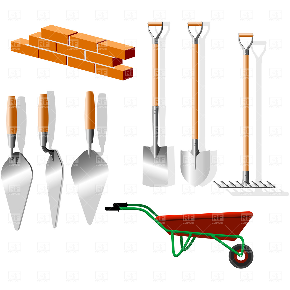 Building Implements   Wheelbarrow Trowel And Shovels 4588 Download