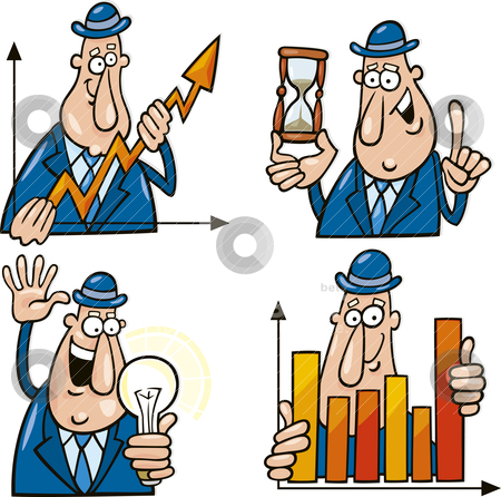 Business Cartoons With Funny Man Stock Vector Clipart Business